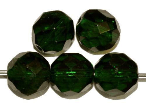 Best.Nr.:76068 geschliffene Glasperlen, dunkelgrün transp., um 1920/30 in Gablonz/Böhmen hergestellt