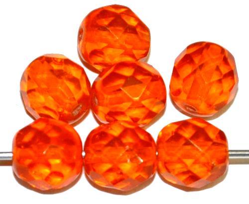 Best.Nr.:76073 geschliffene Glasperlen, orange transp., um 1920/30 in Gablonz/Böhmen hergestellt