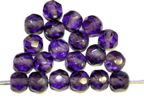 Best.Nr.:76076  geschliffene Glasperlen, violettblau transp., um 1920/30 in Gablonz/Böhmen hergestellt,
