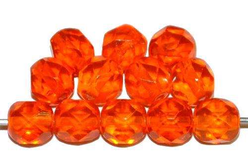 Best.Nr.:76078 geschliffene Glasperlen, orange transp., um 1920/30 in Gablonz/Böhmen hergestellt