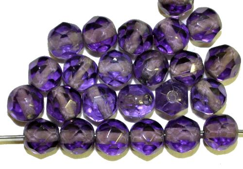 Best.Nr.:76078 geschliffene Glasperlen, violettblau transp., um 1920/30 in Gablonz/Böhmen hergestellt,