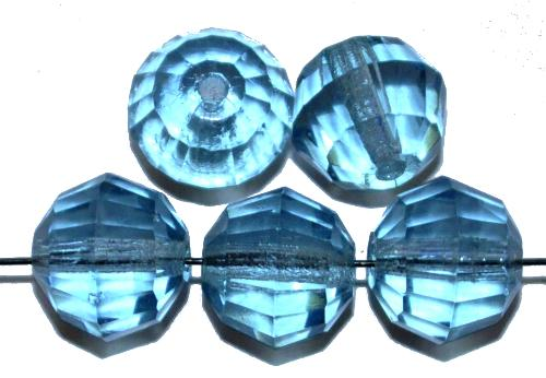 Best.Nr.:76080  geschliffene Glasperlen, aqua transp., um 1920/30 in Gablonz/Böhmen hergestellt