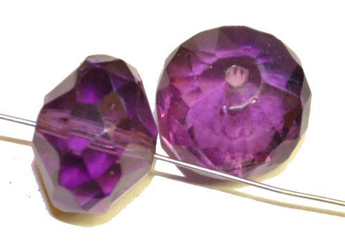 Best.Nr.:76080 geschliffene Glasperlen, violett transp., um 1920/30 in Gablonz/Böhmen hergestellt,  (nur wenige auf Lager)