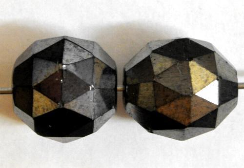 Best.Nr.:76082 facettierte Glasperlen,  schwarz mit Lüster,  um 1920/30 in Gablonz/Böhmen hergestellt