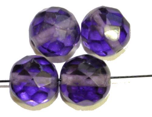 Best.Nr.:76083 geschliffene Glasperlen, violettblau transp., um 1920/30 in Gablonz/Böhmen hergestellt,