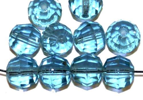 Best.Nr.:76084  geschliffene Glasperlen, aqua transp., um 1920/30 in Gablonz/Böhmen hergestellt