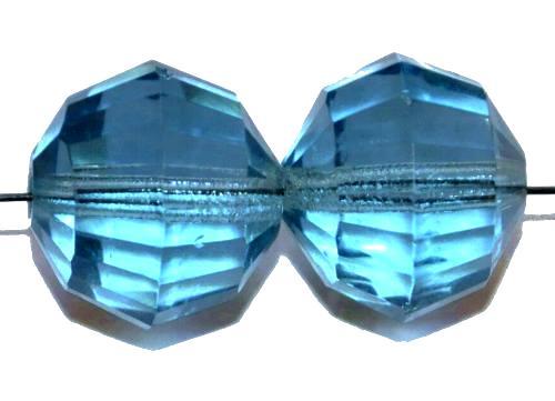 Best.Nr.:76077  geschliffene Glasperlen, aqua transp., um 1920/30 in Gablonz/Böhmen hergestellt