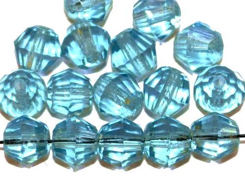 Best.Nr.:76090 geschliffene Glasperlen, aqua transp., um 1920/30 in Gablonz/Böhmen hergestellt