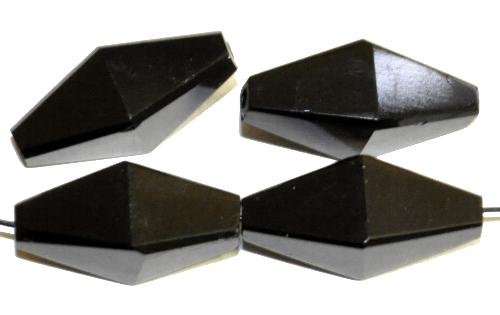 Best.Nr.:76096 Glasperlen Doppelpyramide, schwarz, geschliffen,  in den 1910/20 Jahren in Gablonz/Böhmen hergestellt