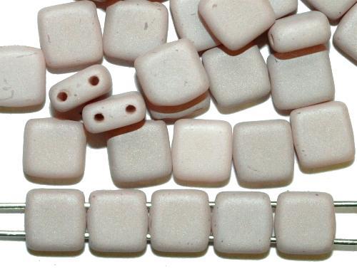 Best.Nr.:79002 Glasperlen mit zwei Löchern, Twin Hole Beads kitt opak mattiert, hergestellt in Gablonz / Tschechien