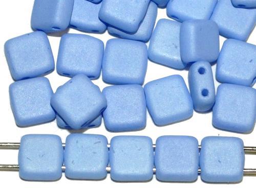 Best.Nr.:79006 Glasperlen mit zwei Löchern, Twin Hole Beads blau opak mattiert, hergestellt in Gablonz / Tschechien