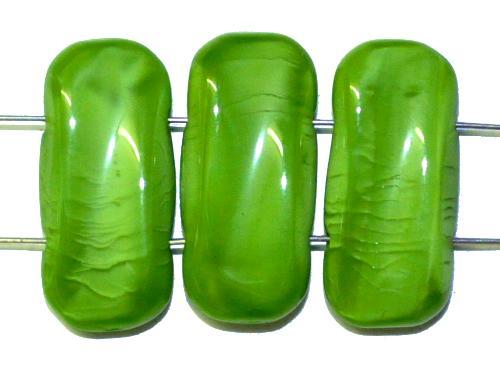Best.Nr.:79023 Glasperlen mit 2 Löchern grün opak,  hergestellt in Gablonz / Tschechien