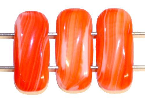 Best.Nr.:79026 Glasperlen mit zwei Löchern  orangerot,  hergestellt in Gablonz / Tschechien