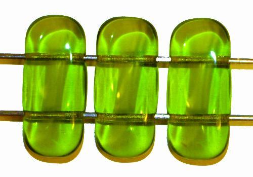 Best.Nr.:79030  Glasperlen mit 2 Löchern  grün transp.,  hergestellt in Gablonz / Tschechien