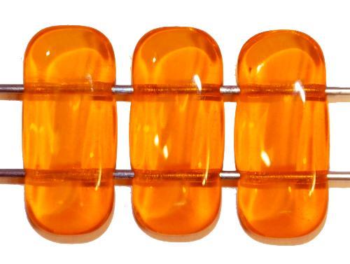 Best.Nr.:79031 Glasperlen mit 2 Löchern  orangegelb transp.,  hergestellt in Gablonz / Tschechien