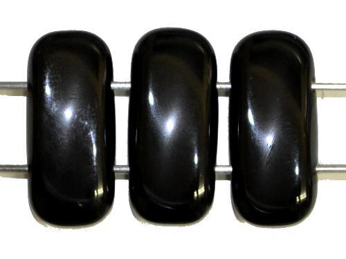 Best.Nr.:79034  Glasperlen mit 2 Löchern  schwarz opak,  hergestellt in Gablonz / Tschechien