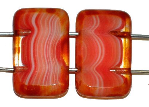 Best.Nr.:671401 Glasperlen / Table Cut Beads geschliffen  mit 2 Löchern  rot kristall mit picasso finish,  hergestellt in Gablonz / Tschechien