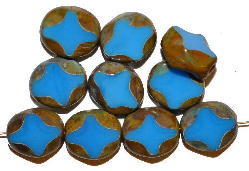 Best.Nr.:671463 Glasperlen / Table Cut Beads  geschliffen, mittelblau opak mit picasso finish,  hergestellt in Gablonz Tschechien
