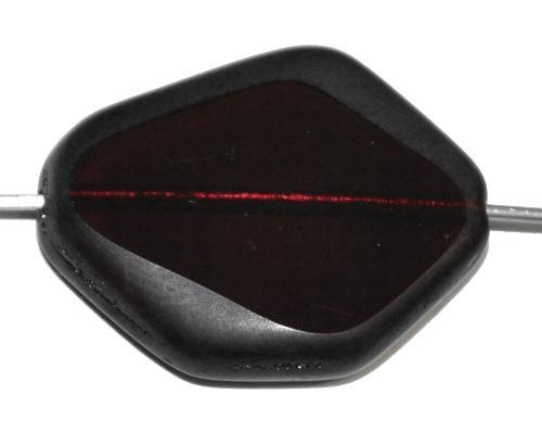 Best.Nr.:671134 Glasperlen / Table Cut Beads geschliffen  granatrot transparent Rand mattiert (frostet),  hergestellt in Gablonz / Tschechien