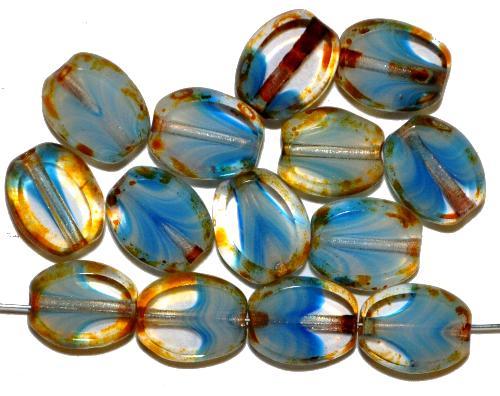 Best.Nr.:67418 Glasperlen / Table Cut Beads geschliffen Olive  kristall blau mit picasso finish,  hergestellt in Gablonz / Tschechien