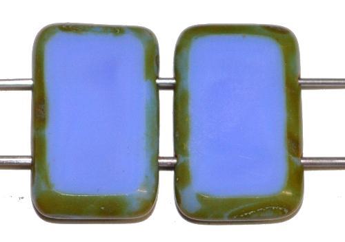 Best.Nr.:671399 Glasperlen / Table Cut Beads geschliffen  mit 2 Löchern  mittelblau opak mit picasso finish,  hergestellt in Gablonz / Tschechien