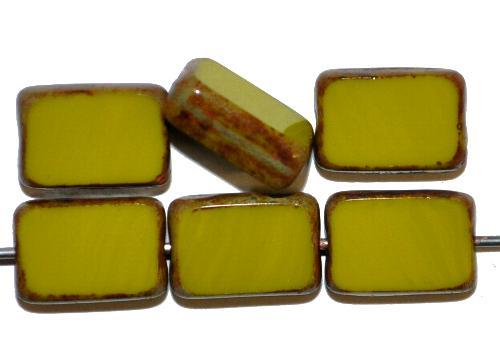 Best.Nr.:671020 Glasperlen / Table Cut Beads geschliffen,  oliv opak mit picasso finish, hergestellt in Gablonz / Tschechien