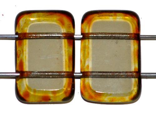 Best.Nr.:671375 Glasperlen / Table Cut Beads geschliffen  mit 2 Löchern  blackdiamond transp. mit picasso finish,  hergestellt in Gablonz / Tschechien