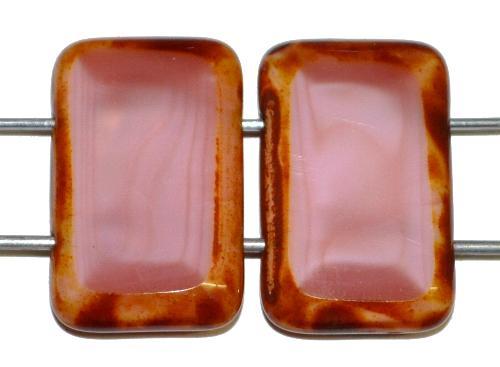 Best.Nr.:67721 Glasperlen / Table Cut Beads geschliffen  mit 2 Löchern  Perlettglas altrosa mit picasso finish, hergestellt in Gablonz / Tschechien