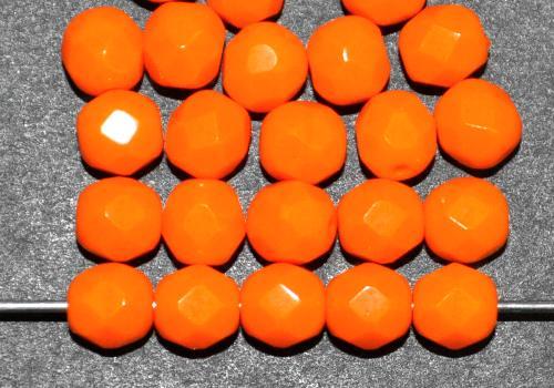 Best.Nr.:26456 facettierte Glasperlen  orange opak,  hergestellt in Gablonz / Tschechien
