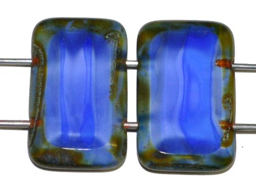 Best.Nr.:671397 Glasperlen / Table Cut Beads geschliffen  mit 2 Löchern  Perlettglas blau mit picasso finish,  hergestellt in Gablonz / Tschechien