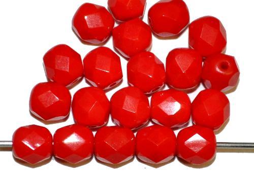 Best.Nr.:26122 facettierte Glasperlen  rot opak,  hergestellt in Gablonz / Tschechien