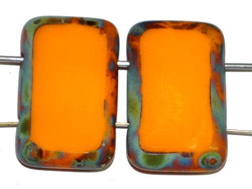 Best.Nr.:671403 Glasperlen / Table Cut Beads geschliffen  mit 2 Löchern  orange opak mit picasso finish,  hergestellt in Gablonz / Tschechien