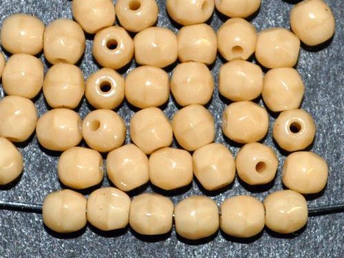 Best.Nr.:26669 facettierte Glasperlen  beige opak,  hergestellt in Gablonz / Tschechien