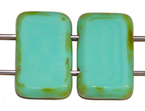 Best.Nr.:671396 Glasperlen / Table Cut Beads geschliffen  mit 2 Löchern  türkisgrün opak mit picasso finish,  hergestellt in Gablonz / Tschechien