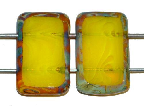 Best.Nr.:671376 Glasperlen / Table Cut Beads geschliffen  mit 2 Löchern  Perlettglas gelb mit picasso finish,  hergestellt in Gablonz / Tschechien