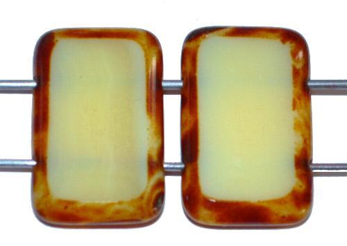 Best.Nr.:671395 Glasperlen / Table Cut Beads geschliffen  mit 2 Löchern  Alabaster blassgelb mit picasso finish,  hergestellt in Gablonz / Tschechien