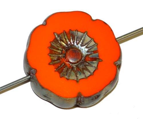 Best.Nr.:671408 Glasperlen / Table Cut Beads Blüte geschliffen  orange opak mit burning silver picasso finish,  hergestellt in Gablonz / Tschechien