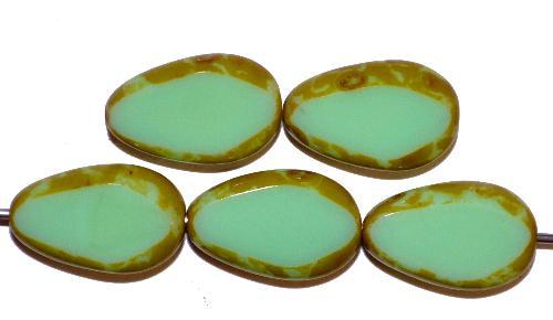 Best.Nr.:671246  Glasperlen / Table Cut Beads geschliffen Tropfen  hellgrün opak mit picasso finish,  hergestellt in Gablonz / Tschechien