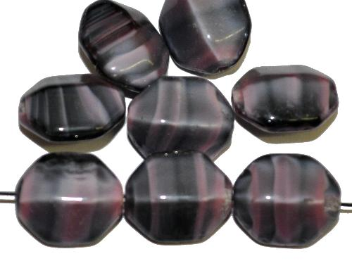 Best.Nr.:46016 Glasperlen Oliven kantig,  violett schwarz,  hergestellt in Gablonz / Tschechien