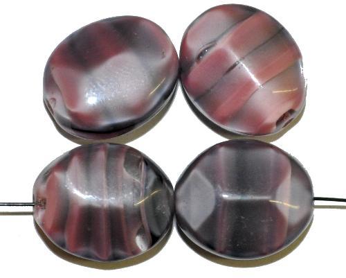 Best.Nr.:46163 Glasperlen Oliven kantig,  violett schwarz,  hergestellt in Gablonz / Tschechien
