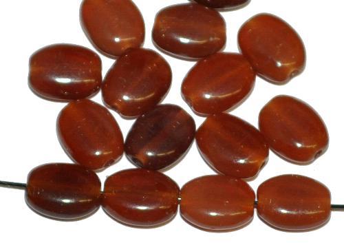 Best.Nr.:46283 Glasperlen Olive flach,  alabaster braun,  hergestellt in Gablonz / Tschechien