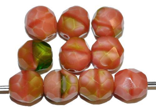 Best.Nr.:26056 facettierte Glasperlen  rosa oliv perlett,  hergestellt in Gablonz / Tschechien