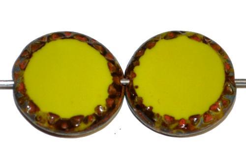 Best.Nr.:67708 Glasperlen / Table Cut Beads Scheiben geschliffen  oliv opak mit picasso finish,  hergestellt in Gablonz / Tschechien