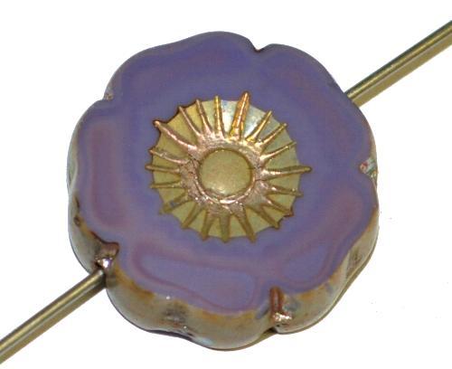 Best.Nr.:671379 Glasperlen / Table Cut Beads Blüte geschliffen  violett opak mit burning silver picasso finish,  hergestellt in Gablonz / Tschechien