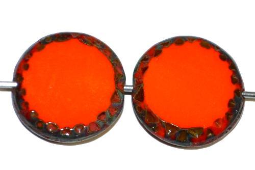 Best.Nr.:671050 Glasperlen / Table Cut Beads Scheiben geschliffen  orange opak mit picasso finish,  hergestellt in Gablonz / Tschechien