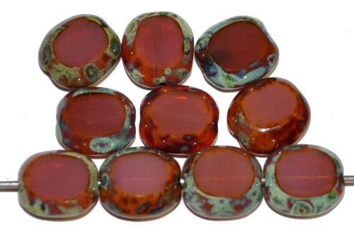 Best.Nr.:67519 Glasperlen / Table Cut Beads geschliffen, Opalglas brombeer mit picasso finish, hergestellt in Gablonz Tschechien