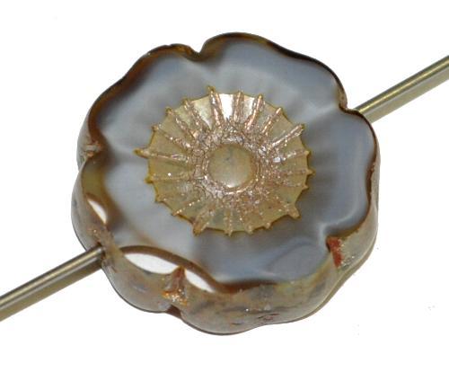 Best.Nr.:671065  Glasperlen / Table Cut Beads Blüte geschliffen  grau kristall mit burning silver picasso finish,  hergestellt in Gablonz / Tschechien