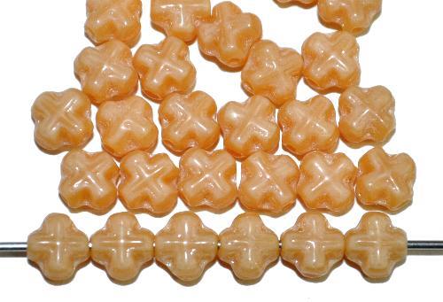 Best.Nr.:57212 Glasperlen Kreuzform  beigebraun opak.,  hergestellt in Gablonz / Tschechien