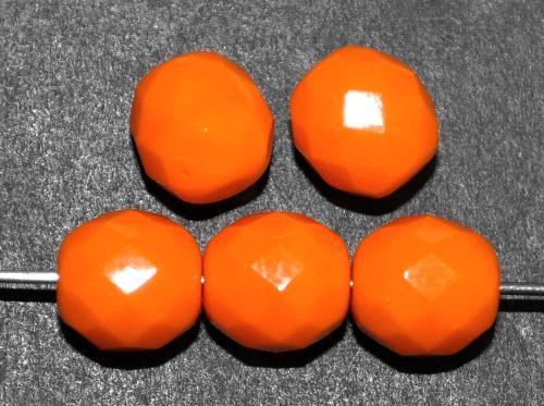 Best.Nr.:26666 facettierte Glasperlen  orange opak,  hergestellt in Gablonz / Tschechien
