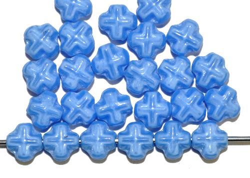 Best.Nr.:57630 Glasperlen Kreuzform  mittelblau opak.,  hergestellt in Gablonz / Tschechien